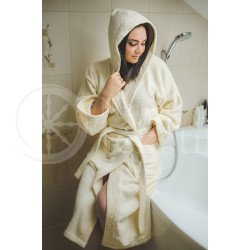Cotton bathrobe with a hood ,,Beige""