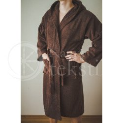 Cotton bathrobe with a hood ,,Choco""