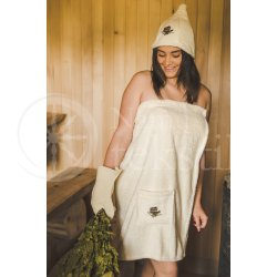 Cotton sauna hat ,,Beige""