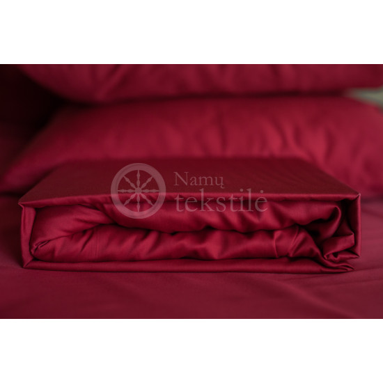Satin fitted sheets (burgundy)