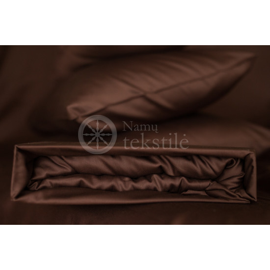 Satin fitted sheets (brown)
