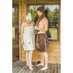 Cotton women's sauna apron ,,Beige""