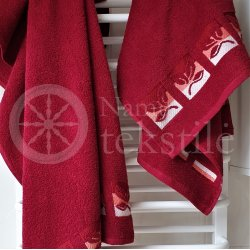 "Cotton terry bath towel with leaves ""BURGUNDY"""
