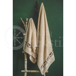 "Cotton terry bath towel with leaves ""BEIGE"""
