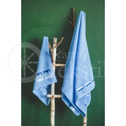 "Cotton terry bath towel with leaves ""SKY BLUE"""