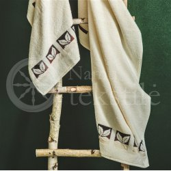 "Cotton terry bath towel with leaves ""CREAM"""