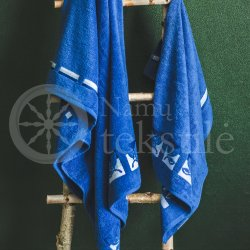 "Cotton terry bath towel with leaves ""ROYAL BLUE"""