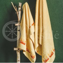 "Cotton terry bath towel with leaves ""YELLOW"""