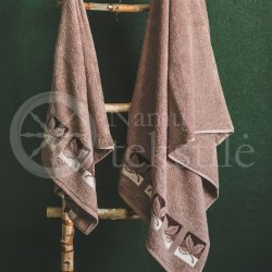 "Cotton terry bath towel with leaves ""LIGHT BROWN"""
