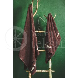 "Cotton terry bath towel with leaves ""CHOCOLATE"""