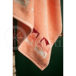 "Cotton terry bath towel with leaves ""PEACH"""