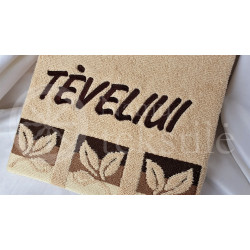 "Embroidered occasional towel with leaves ""Tėveliui"""