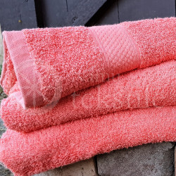 Bamboo fibre terry bath towel coral