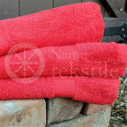 Bamboo fibre terry bath towel red