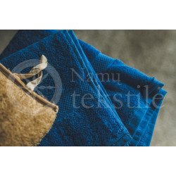 Bamboo fibre terry bath towel dark blue