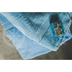 Cotton terry towel blue