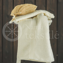 Cotton terry towel cream