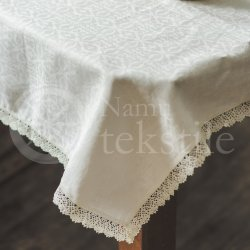 Jacquard white linen tablecloth SNAIGĖ with lace
