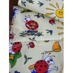 "Cotton waffle surface kitchen towel ""Boružėlės"""