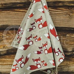 "Colourful half-linen kitchen towel ""Lapės"""