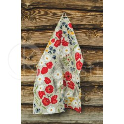 "Colourful half-linen kitchen towel ""Aguonos"""