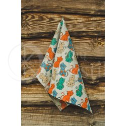 "Colourful half-linen kitchen towel ""Katės"""