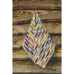 "Colourful half-linen kitchen towel ""Žuvys"""