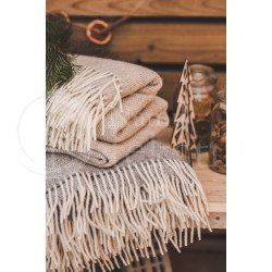 "Wool blanket with fringes ""Dryželiai"" grey"
